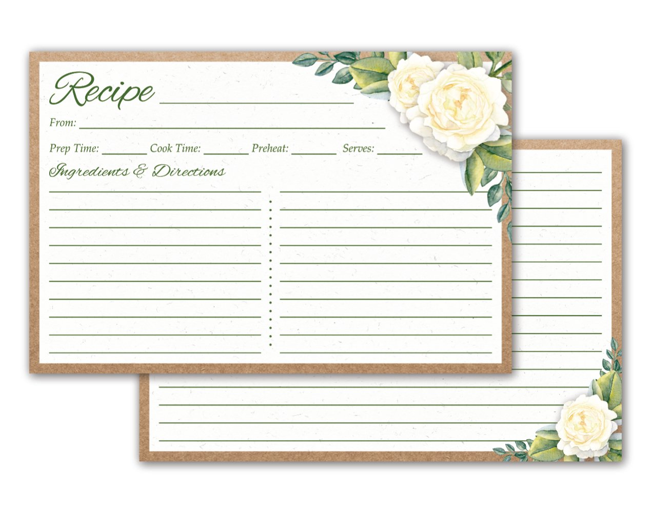 Floral Recipe Cards 4x6-50 Double Sided Rustic Recipe Cards for Wedding (White Floral) - Thick Cardstock, Made in the USA