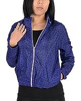 Adidas Womens Pattern Lightweight Windbreaker Jacket Indigo