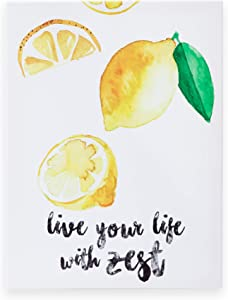 """OUTSHINE 12"""" x 16"""" Lemon Wall Art Decor Live Your Life with Zest Positive Quotes Canvas Wall Art 