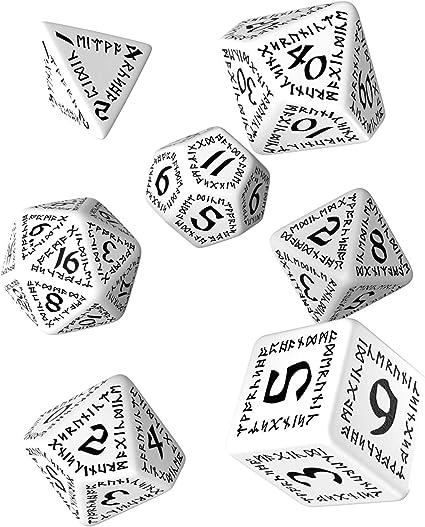 7 Runic Black//White Dice Set