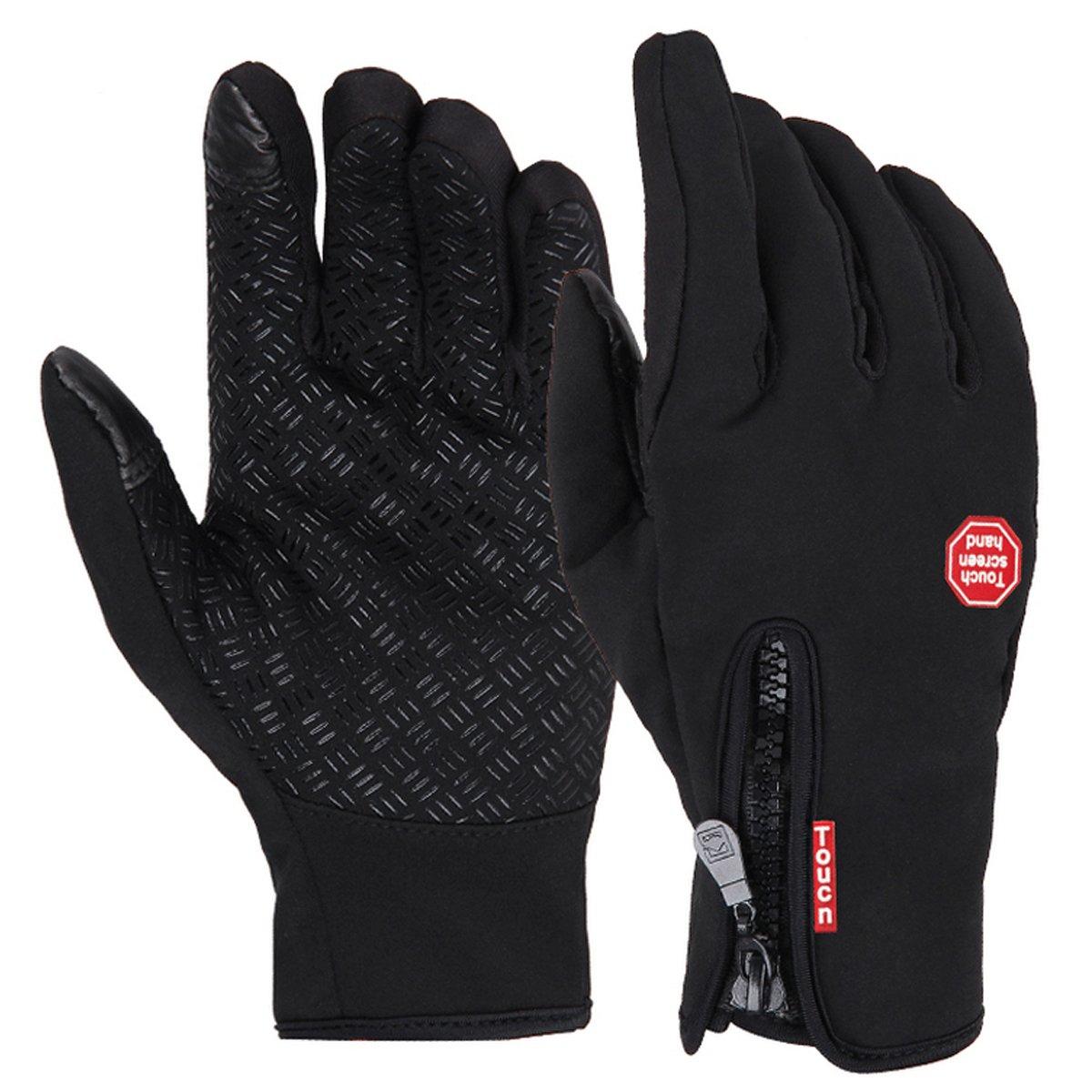 Adela Boutique メンズ レディース 防水&防風 スポーツ アウトドア タッチスクリーン 暖かい手袋 Large ブラック B07GVJG4P7