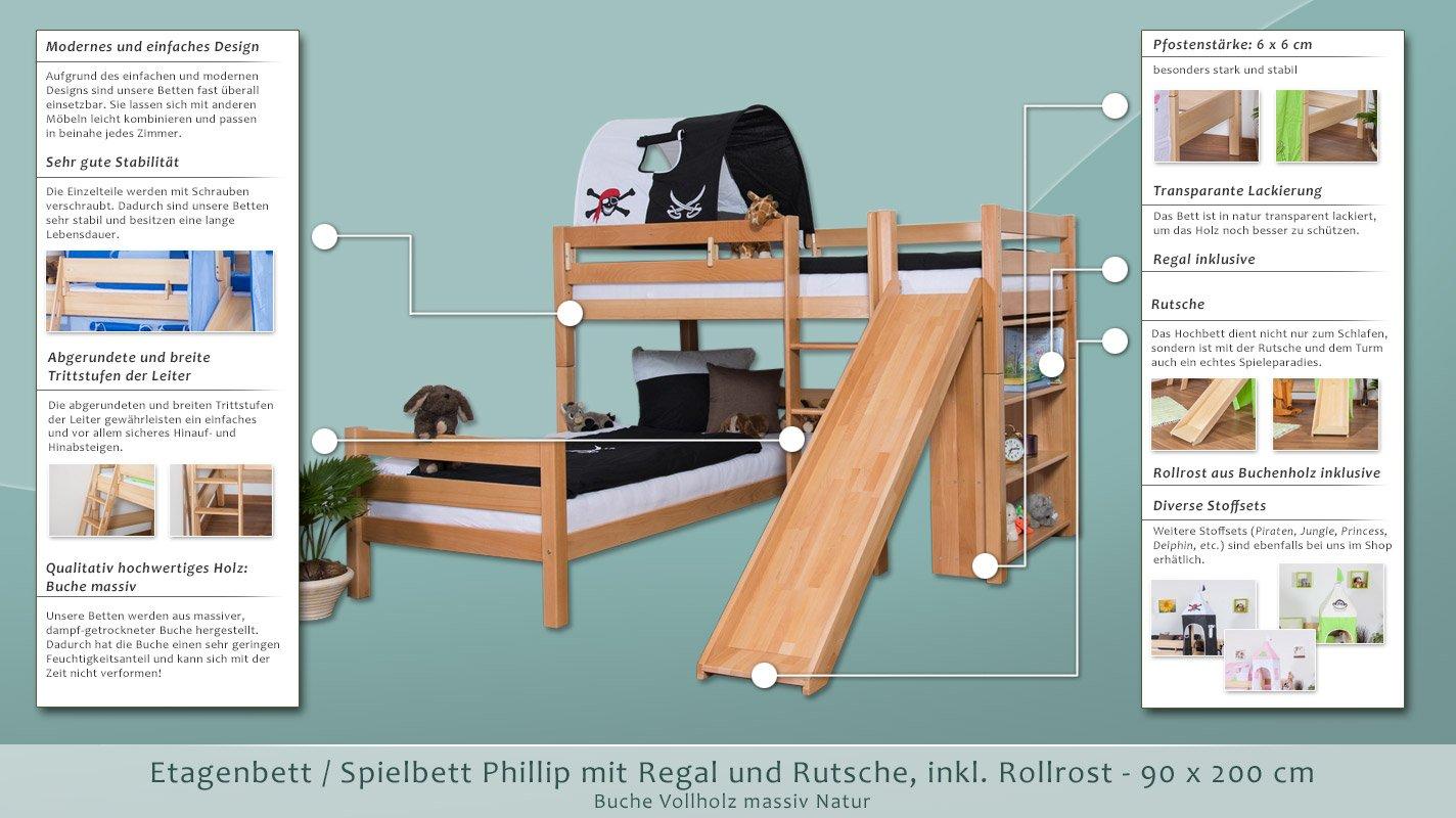Etagenbett Moritz Mit Rutsche : Kinderbett etagenbett moritz l buche vollholz massiv natur mit