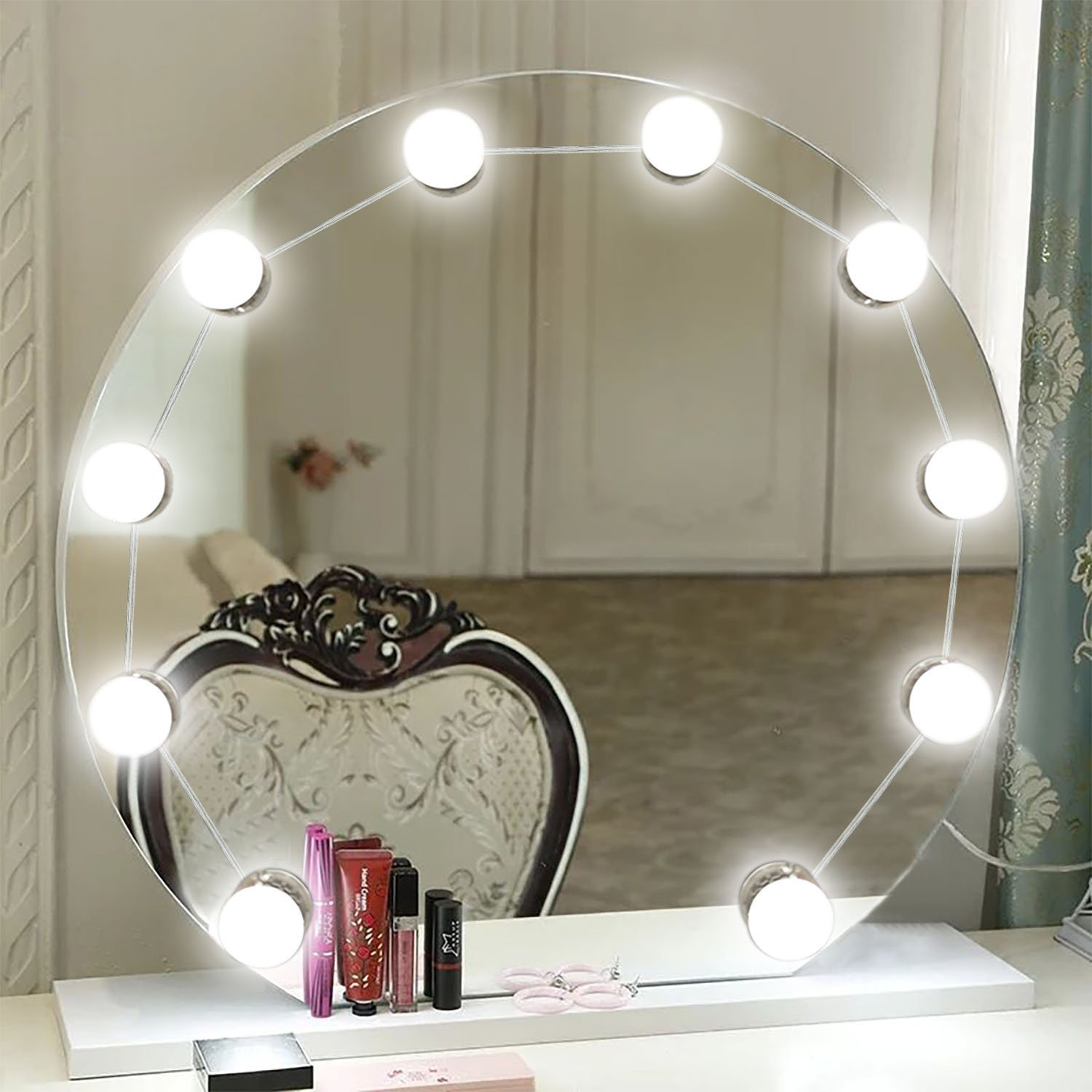 Azornic LED Makeup Vanity Mirror Lights Kit USB Power Supply Lighting Fixture Strip with 10 Dimmable Bulbs for Dressing, Cosmetic, Bathroom, Mirror Not Included