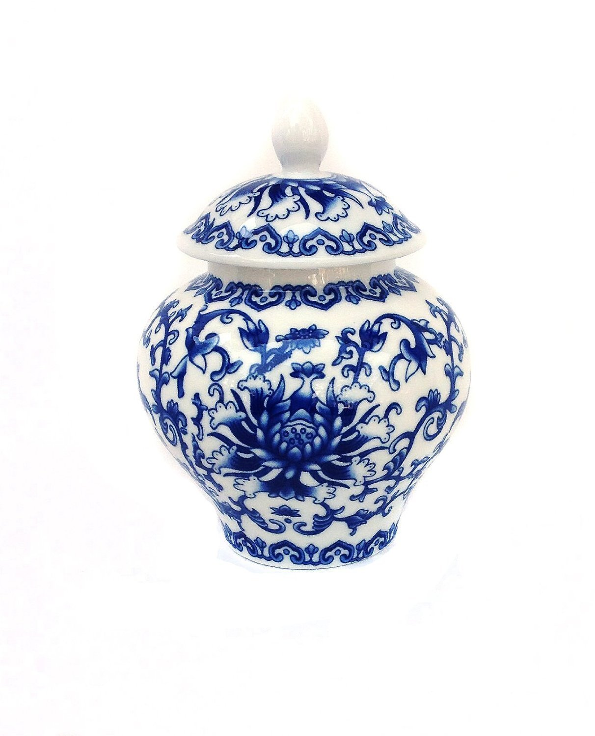 Ancient Chinese Style Blue and White Porcelain Tea Storage Helmet-shaped Temple Jar (Small size) U.S.Sourcing Inc. GW-CBW110