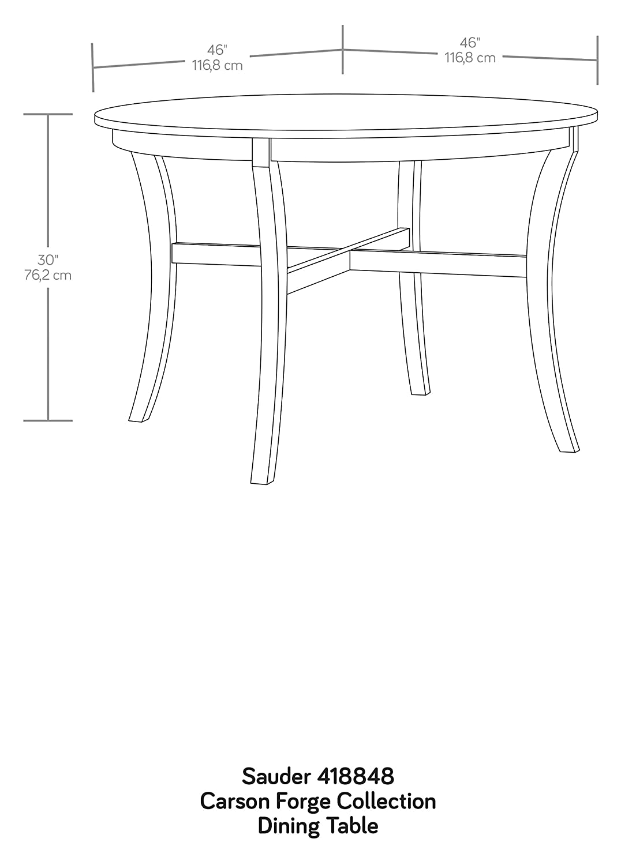 30.00 L Sauder Palladia Round Dinette Table Select Cherry finish 45.98 x H 45.98 x W