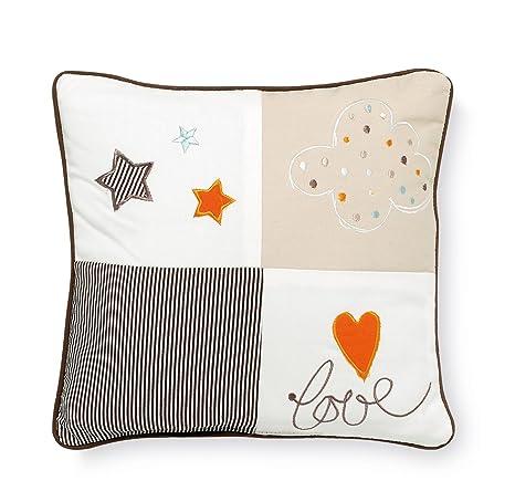 Pirulos 79011610 - Cojín bordado 30 x 30 diseño globo, color blanco y lino