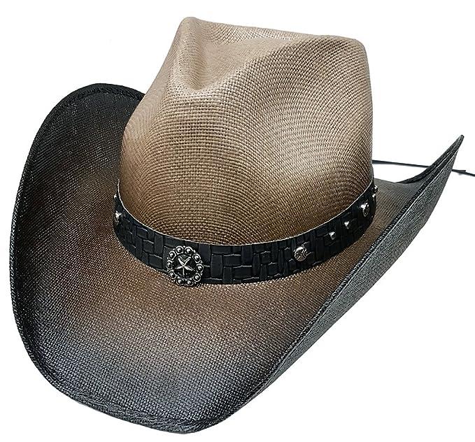 edcd0c5e2b7ad Modestone Straw Cowboy Hat Metal Texas Sheriff Star Chain Links Hatband S