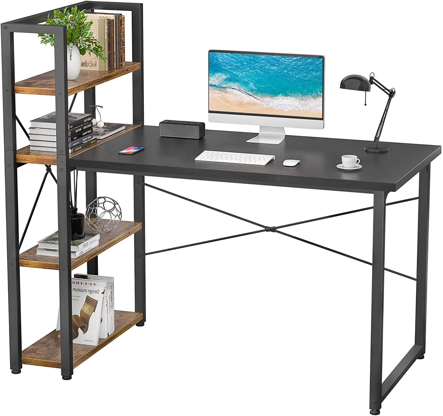 Foxemart Computer Desk with Storage Shelves Reversible Modern Writing Home Office Desks, Space-Saving Gaming Study Laptop Table Craft Work Desk with Bookshelf for Small Space, Black/Rustic Brown