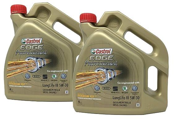 Castrol Aceite para Motor Edge Professional LongLife III 5W-30, Pack 8 litros (Nuevo envase 2018): Amazon.es: Coche y moto