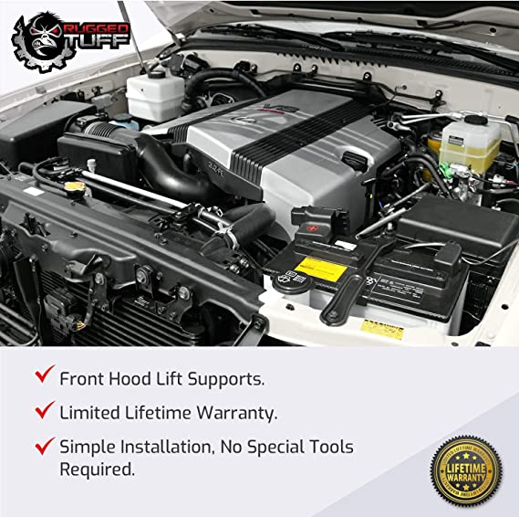 Rugged TUFF Front Hood Lift Supports Shocks Compatible With Universal Extended 20-3//8 Compressed 13 Lid RT080017 SG329017 Qty 2