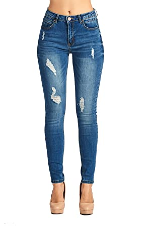 BLUE AGE Womens Destroyed Ripped Distressed Skinny Jeans (9, JP0082_DK)