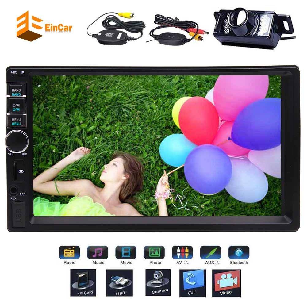 ワイヤレスバックアップカメラは、Bluetooth USB SDのTFT機能のためのダッシュ車のFMラジオ7インチステレオビデオオーディオシステムにEinCar MP5プレーヤーダブル2ディンを含ま B0788LDV2Q