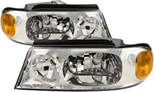 HEADLIGHTSDEPOT Chrome Housing Halogen Left and Right Headlights Pair Compatible With Holiday Rambler Neptune 2002-2005