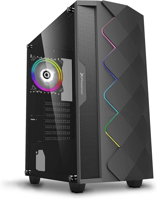 Phoenix Technologies - Torre Gaming Negra RGB, Cristal Templado, Compatible con Placas ATX, Mini-ATX, Incluye Ventilador RGB, Filtros Anti-Polvo y Tira Frontal RGB Sincronizada con Ventilador (Negro): Amazon.es: Electrónica