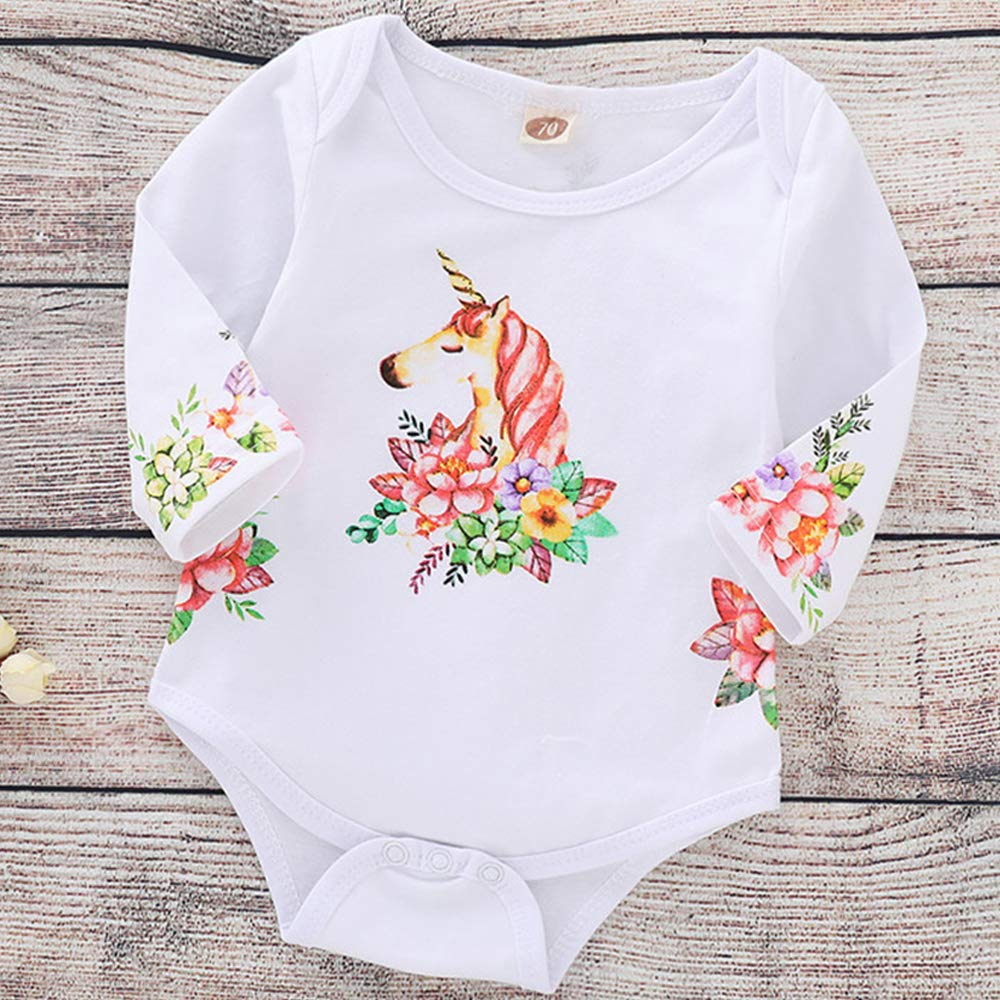 Infant Toddler Baby Girls Romper Long Sleeve Bodysuit Unicorn Printed Jumpsuit one-Piece Clothes Set