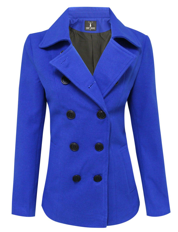 TAM Ware Womens Trendy Double Breasted Wool Pea Coat TWCWC06-BLUE-XXL