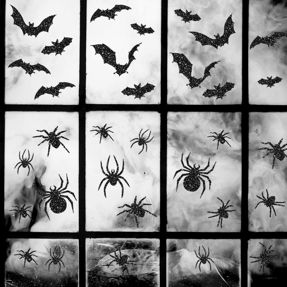 Uimiqc Glitter Halloween Window Clings 90 pcs Reusable Static Sparkly Window Clings for Halloween Home Party Decorations Include Spiders Bats Multi-Size (90 pcs)