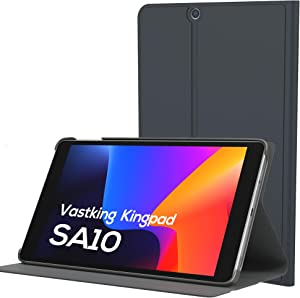 (Only fit SA10, Do Not fit K10 ) Tablet Case for Vastking Kingpad SA10, Triple Viewing Angles, Premium PU Trifold Stand, Hard Back Shell Protective Smart Cover, Grey