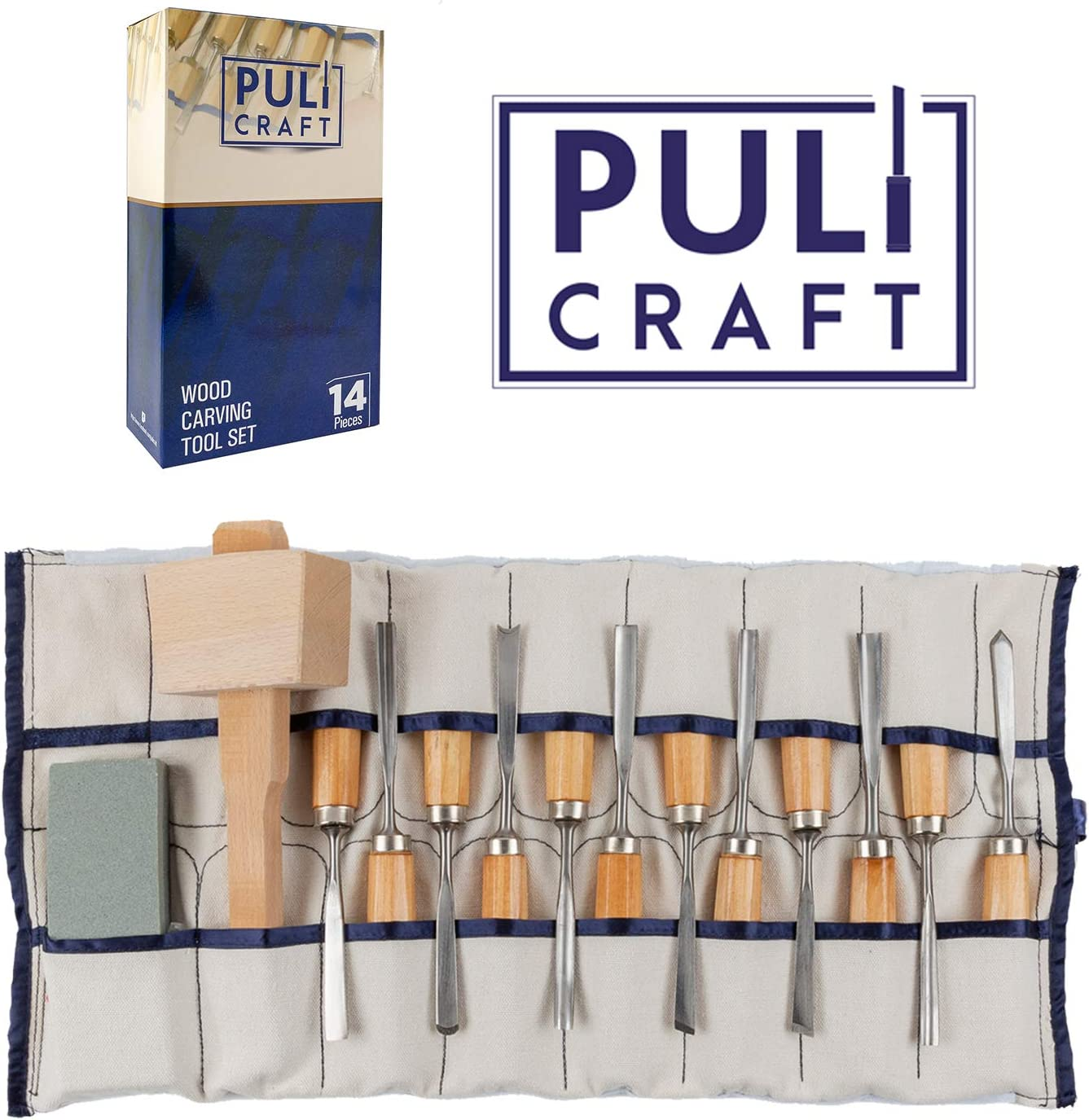 Amazon Com Puli Craft Wood Carving Knife Tools Set Gouges Chisels Sharpening Stone Mallet Beginner Woodworking Kit With Canvas Case Precision Cutting Shaping For Personal Use Whittling Arts Crafts