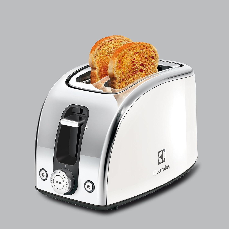 Electrolux EAT7100W - Tostadora de doble ranura y calentador de pan y bollería, color blanco: Amazon.es: Hogar