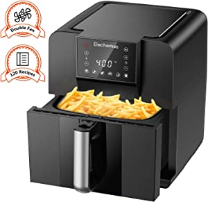 Elechomes AG61B Air Fryer, 6.3 Quart Oilless Electric Oven with Free 120 Recipes Book, Double Fan Design for Rapid Evenly Heating, LED Digital Touchscreen with 6 Smart Presets, BPA-Free Nonstick Basket, ETL Listed