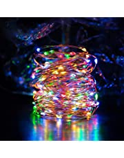 Solar String Lights Multi Color Ankway 200 LED Fairy Lights 3-Strand Copper Wire Light 8 Modes 72 ft Solar String Lights Waterproof Twinkle Lights for Garden Patio Indoor Outdoor(Multi Color)