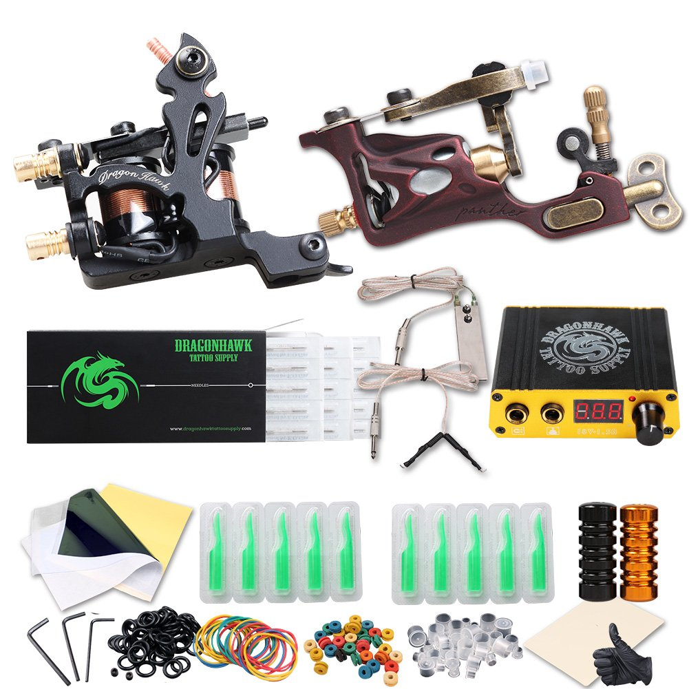 Dragonhawk Complete Tattoo Kit 2 Pro Machines Rotary Gun Power Supply 50 Needles 20 Immortal Inks Grips Tips 2-1YMX