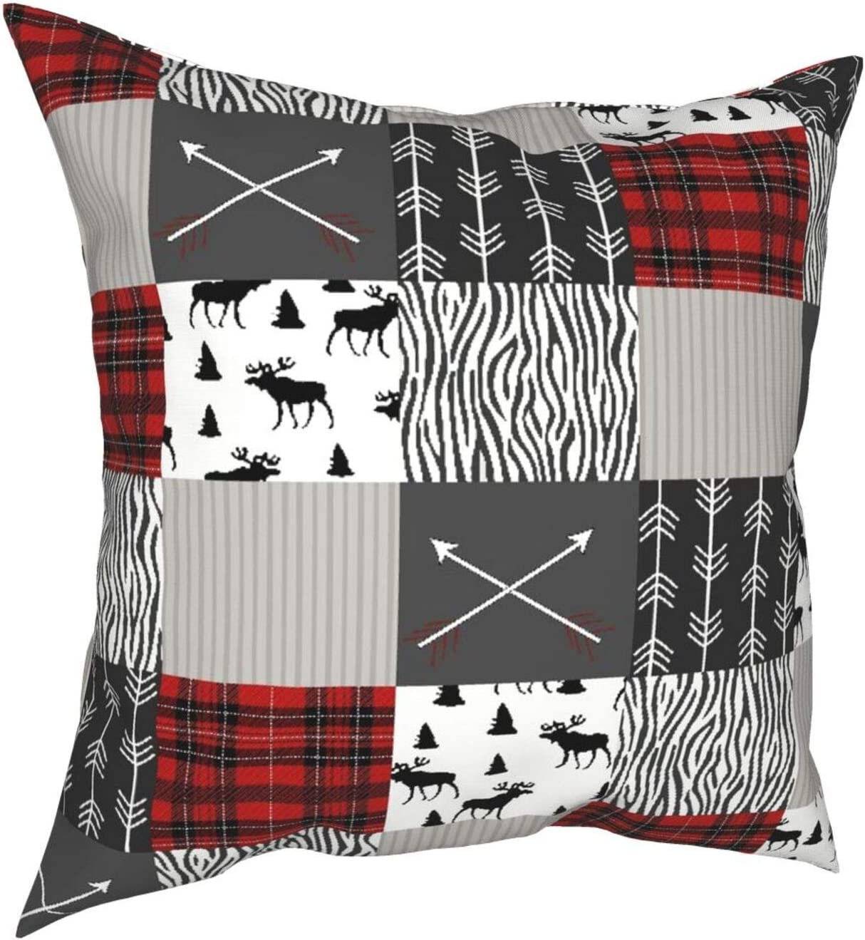 Throw Pillow Cover Case,Wildlife Animal Moose With Black And Red Woodland Plaid Arrow Rustic Patch,Modern Pillowcase Sofa Couch Bed Car Set Home Decor 18