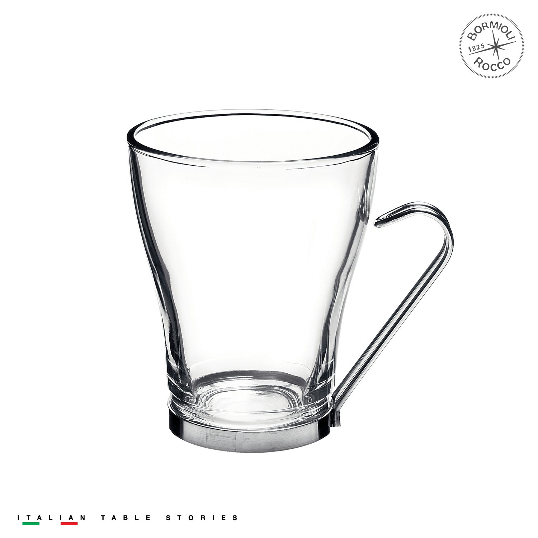 Bormioli Rocco Oslo Cappuccino Glass Cups 4 Set 7.5 Oz   Tempered Glass, Ergonomic Stainless Steel Handles, Dishwasher Safe   For Coffee Drinks, Beverages, Latte, Macchiato, Espresso, Mocha & More