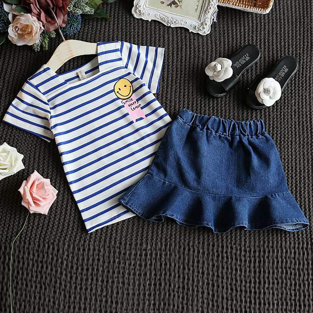 Toddler Kids B/éb/é Fille Outfits ❤️Robemon V/êtements de Tout-Petit Rayure T-Shirt Tops+Denim Short Jupes Ensembles de Fille