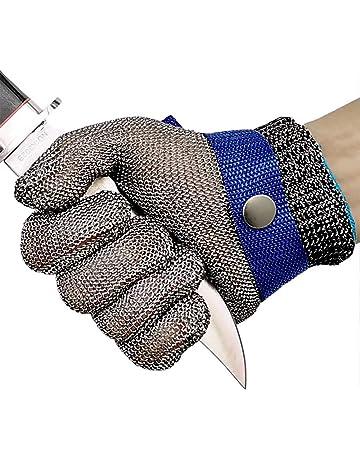 OKAWADACH Guantes Anticorte Seguridad Corte prueba puñalada resistente acero inoxidable de malla metálica carnicero guante de