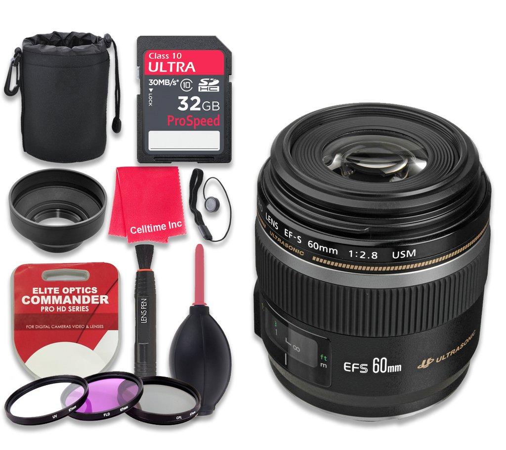 Canon EF - S 60 mm f / 2.8マクロUSMレンズwith 32 GB Ultra Proスピードクラス10 SDHCメモリカード+ 3個入りフィルタキット( uv-fld-cpl ) +デラックススリーブ+ Celltimeマイクロファイバークリーニングクロス – インターナショナルバージョン   B01KGCPNDK