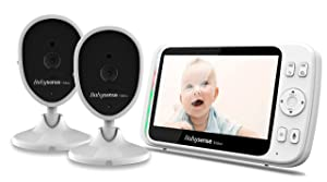 Video Baby Monitor with Large 5 Inch LCD Screen and 2 Cameras by Babysense, Two Way Audio, 2.4ghz Long Range, VOX, Lullabies, Infrared Night Vision ● Adjustable Room Temperature Alerts