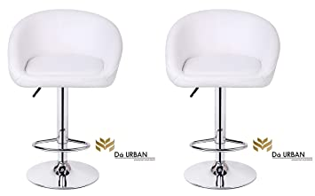 Da Urban Mini (Set of 2) Height Adjustable Swivel White Stool/Chair- Kitchen/Office/Cafeteria/Bar. ISO and BIFMA Certified.