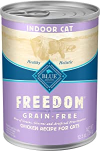 Blue Buffalo Freedom Grain Free Natural Adult Pate Wet Cat Food Indoor Chicken 12.5-oz cans (pack of 12)