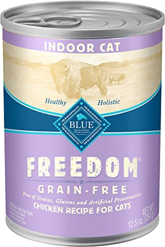 Blue Buffalo Freedom Grain Free Natural Adult Pate Wet Cat Food, Indoor Chicken 12.5-oz cans pack of 12