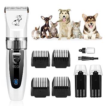 GHB Cortapelos para animales (Cortapelos Esquiladora perro perros gatos Timmer mascotas 4 cabezales con 2 x Batería recargable Baren Animales Cortapelos: ...
