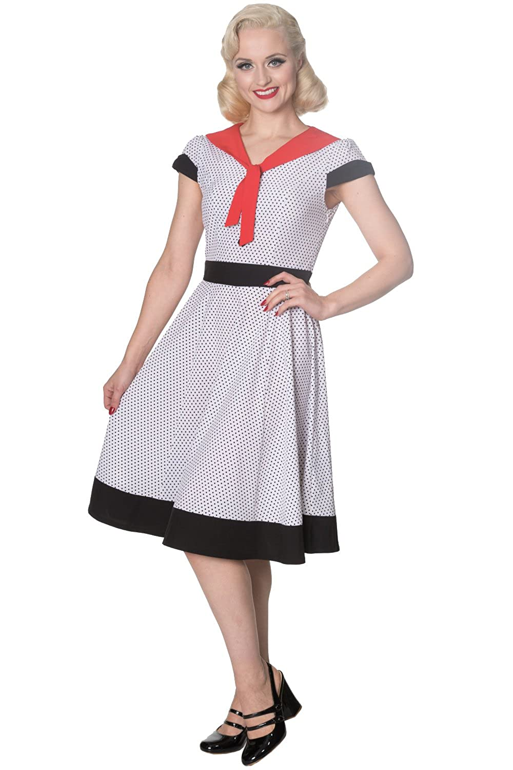 Sailor Dresses, Nautical Theme Dress, WW2 Dresses Banned The Insider Retro Vintage Tea Dress - White Black or Navy $50.95 AT vintagedancer.com