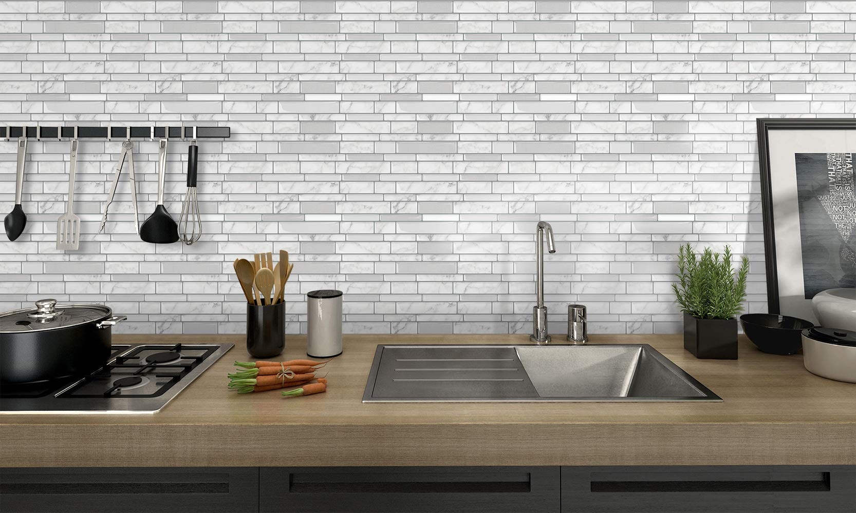 Tic Tac Tiles - Premium Anti Mold Peel and Stick Wall Tile Backsplash in Polito Design (Blanco, 6) by Tic Tac Tiles (Image #6)