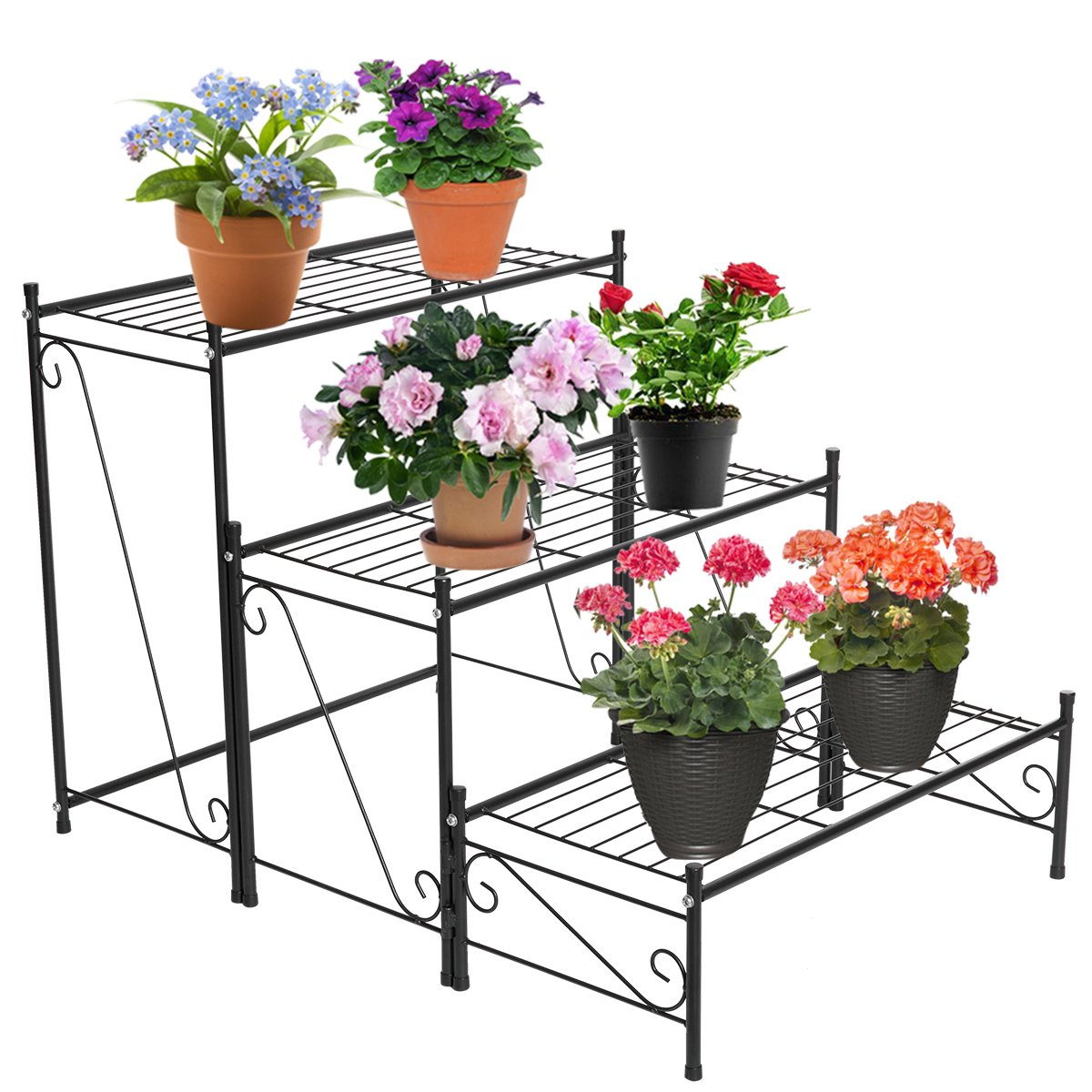 DOEWORKS Metal Plant Shelf, 3 Tier Patio Iron Plant Stand for or Large Flower Pot Outdoor Indoor