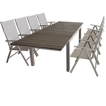 AuBergewohnlich Gartenmöbel Gartentisch Ausziehbar 160/210/260x95cm, Aluminiumgestell Mit  Polywood Tischplatte In Champagner