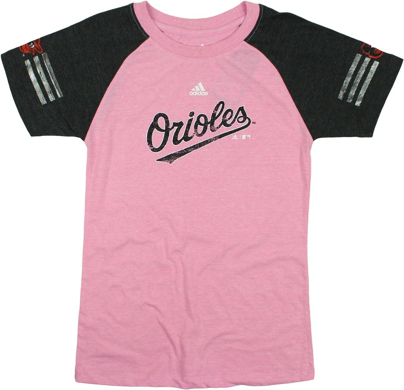adidas Baltimore Orioles MLB Youth Big Girls Fashion Jersey Tee - Pink
