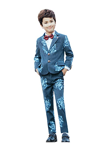 Amazon.com: Yanlu 5 Piece Flower Design Boys Prom Part Wedding Suits ...