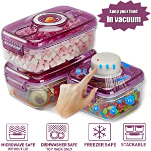 Jueapu Automatic Vacuum Food Storage Containers With Lids Airtight Fridge Containers for leftovers Vegetables Soup Sauce with Date Dial Plastic JP02 Food Containers Meal Prep containers (3 set+pump)