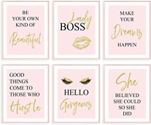 GIFTSFARM Inspirational Wall Art, Bedroom Decor for Women, Pink Room Decor, Teen Girls Fashion Makeup Home Wall Decoration Picture Poster, Bathroom Decor, Office Decor (Set of 6, 8X10in, Unframed)