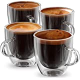 Espresso Cups or Shot Glass Set of 4 Expresso Double Walled Coffee Glasses 5 ounce Reto Boxed By Anchor & Mill AM 04