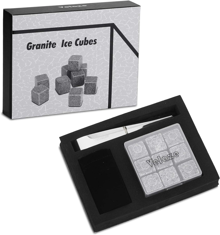 Refroidissement avec Pince et Sac de Rangement Velaze Pierre /à Whisky en Acier Inoxydable Cube de Balles de 6 Pi/èces Ensemble de Gla/çon INOX