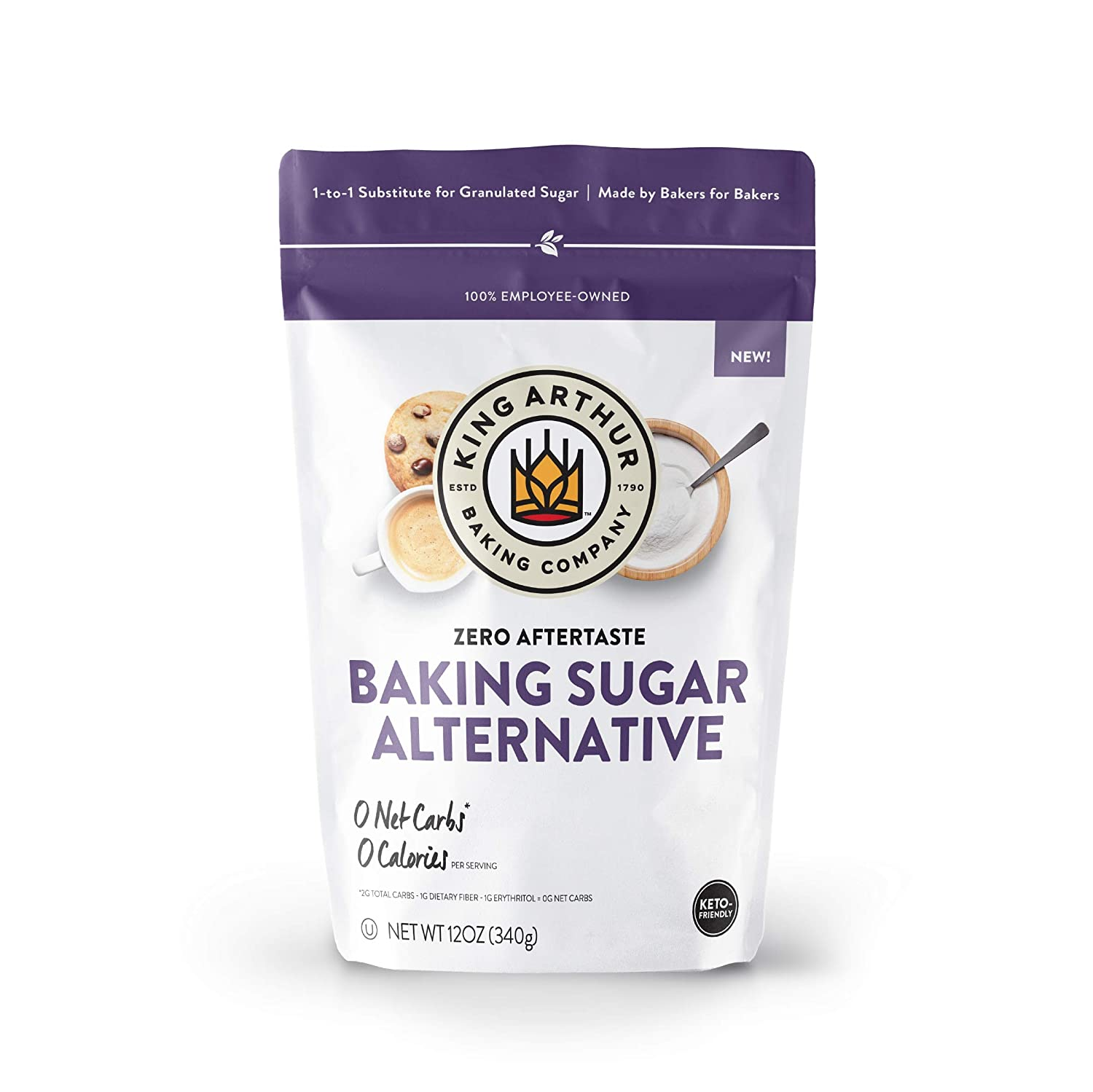 King Arthur, Baking Sugar Alternative, Made with Plant-Based Ingredients, Keto-Friendly, 1-to-1 Substitute for Granulated Sugar, 12 Ounces