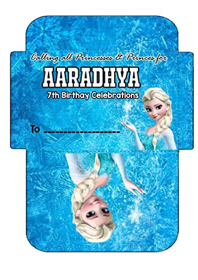 Wow Party Studio Personalized Frozen Elsa Birthday Party Invitation Envelopes With Birthday Boy Girl Name Blue And White 16 Pieces