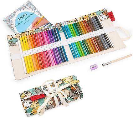 Lápices de colores en estuche enrollable de tela, libro de colorear, 36 lápices, basado en aceite, no tóxico, núcleo suave de 3,5 mm, estuche, sacapuntas, accesorio de extensión (Cat): Amazon.es: Oficina y